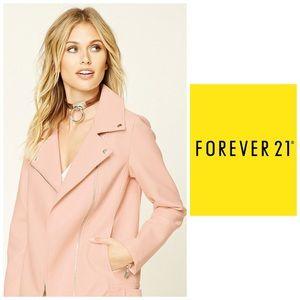 Forever 21 Peach Assymetrical Zipper Moto Jacket